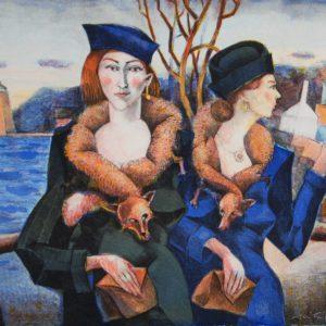 "Jussi Taipaleenmäki, ""Två danska damer"", litografi, h/b 32x40 cm, 2 200 kr exkl ram, 2 800 kr inkl ram"