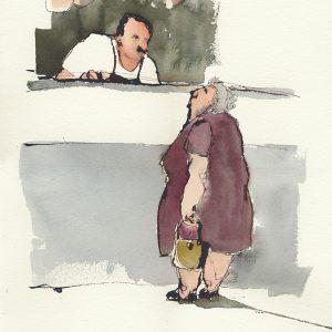 "Anna Törnquist, ""Chorizo"", akvarell, h/b 53x38 cm, 6 000 kr inkl ram"