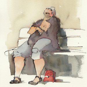 "Anna Törnquist, ""Väntan"", akvarell, h/b 53x38 cm, 6 000 kr inkl ram"