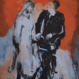 """Berndt Wennström, """"Flirt"""", litografi, h/b 48,5x36 cm, 3 200 kr exkl ram, 4 000 kr inkl ram"""