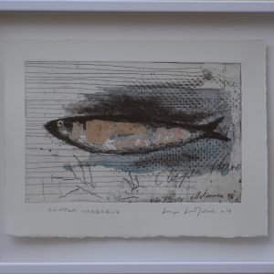 "Lage Löfdahl, ""Clupea Harengus"", blandteknik, h/b 14x21 cm, 2 200 kr inkl ram"