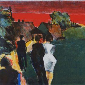 "Jussi Taipaleenmäki, ""Röd afton"", litografi, h/b 19x24 cm, 1 600 kr exkl ram, 2 100 kr inkl ram"