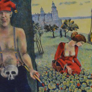 "Jussi Taipaleenmäki, ""Ofelia plockar krasse"", litografi, ""h/b 31x46 cm, 2 400 kr exkl ram, 3 200 kr inkl ram (Ur mappen ""Hommage á Cornelis"")"