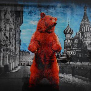 "Lars Tunebo, ""Red square bear"", foto mixed/media, h/b 45x56 cm, 5 500 kr inkl ram"