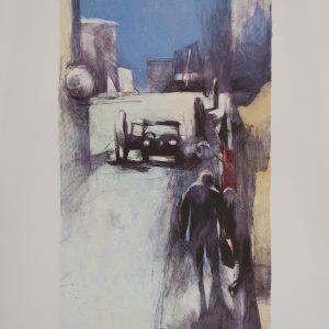 "Berndt Wennström, ""Gatan"", h/b 36x20 cm, 1 900 kr exkl ram, 2 500 kr inkl ram"