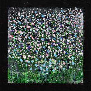 "Margit Hanquist, ""A piece of love for peace II"", akryl, h/b 40x40 cm, 3 200 kr"