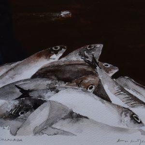 """Lage Löfdahl, """"Sillalåda"""", akvarell, h/b 19x23 cm, 2 200 kr inkl ram"""