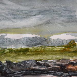 "Jón Leifsson, ""Isländskt landskap I"", akvarell, h/b 33x46 cm 4 500 kr inkl ram"