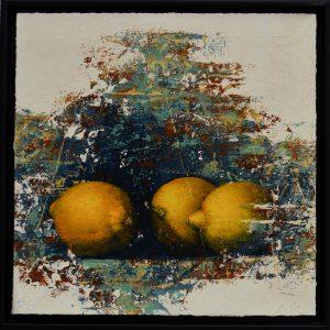 """Allan Madsen, """"Citroner"""", giclée, h/b 28x28 cm, 2 400 kr inkl ram"""