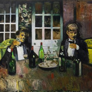 "Mats Ceder, ""Vinprovningen"", olja, h/b 60x80 cm, 15 000 kr"