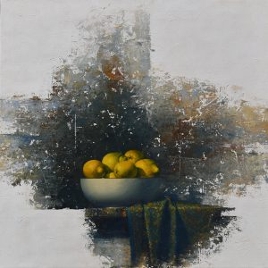 "Allan Madsen, ""Citroner"", olja, h/b 81x81 cm, 26 000 kr"